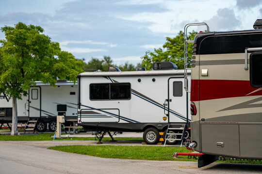 Recreational vehicles RV at a camp ground