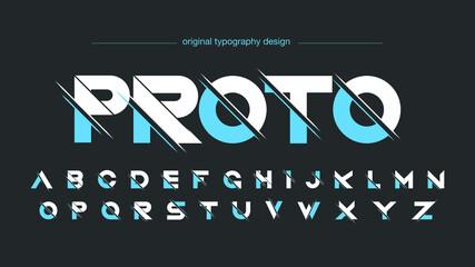 Fototapeta Blue sliced sports futuristic typography obraz