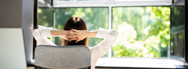 Fototapeta Open Window In Office. Breathing Fresh Air obraz