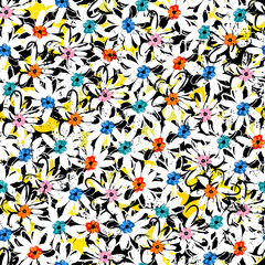 seamless floral background pattern, with flowers, leaves, paint strokes and splashes