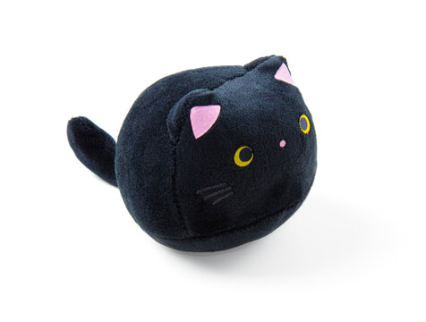 Soft children's toy fluffy black cat isolated by white background.