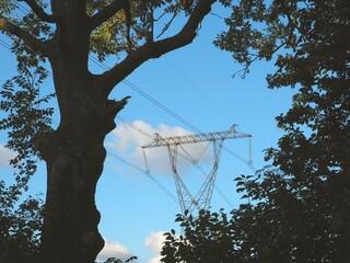Fototapeta Słupy wysokiego napięcia i wiatraki obraz