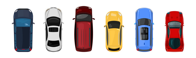 Cars top view isolated on white background. City vehicle transport icons collection. Urban traffic, automobile transportation. Transport service. View from the birds eye. Stock vector illustration
