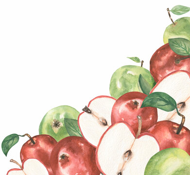 Apple Clipart, Watercolor Red and green Apple frame, Organic botanical fruit clip art, Garden Harvest, Wedding Invitation, Textile printing, Logo Design