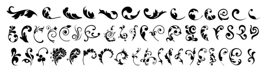 Swirl ornament stroke. Ornamental curls, swirls divider and filigree ornaments vector illustration set