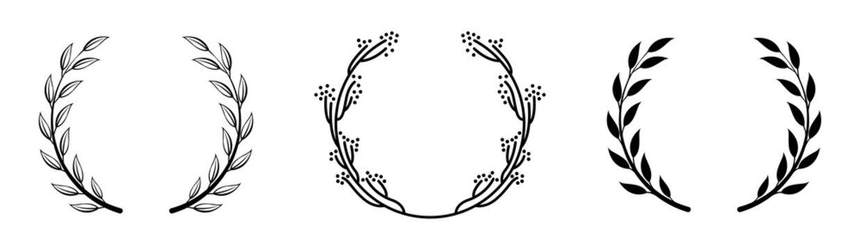 floral laurel decoration vector collection set