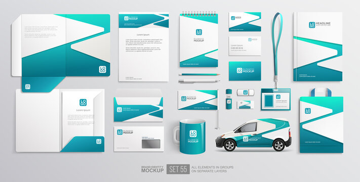 Branding identity Stationary items and objects Mockup of folder, letterhead, delivery van, bag. Blue colour abstract minimalistic Corporate Brand Identity design on stationery. Vector template