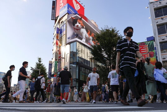 Passersby wearing protective face masks walks on the street under a billboard featuring a 3D cat in 4K resolution, amid the coronavirus disease (COVID-19) pandemic, in Tokyo