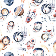 Astronaut seamless pattern. Universe kids Baby boy girl elephant, fox cat and bunny, space suit, cosmonaut stars, planet, moon, rocket and shuttle watercolor space ship background