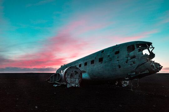 Iceland, Airplane wreck at Solheimasandur at sunset