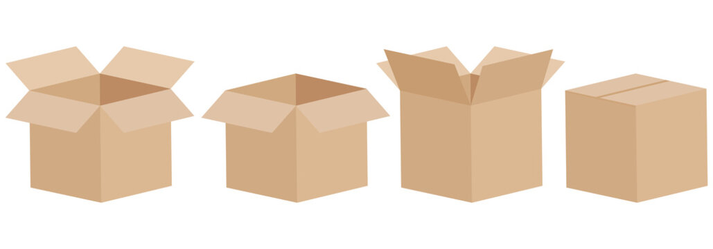 Set of open and closed boxes. Cardboard box. Vector illustration.