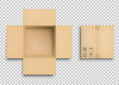 Empty open and closed cardboard box. Vector illustration.