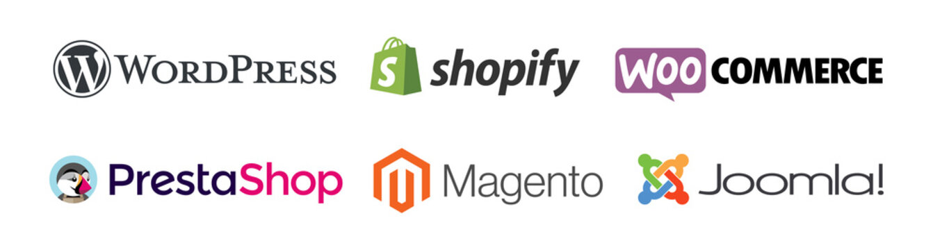 CMS systems logo vector set : WordPress, Shopify, WooCommerce, PrestaShop, Magento, Joomla. E-commerce website software. Isolated logotype icons, editorial illustration.