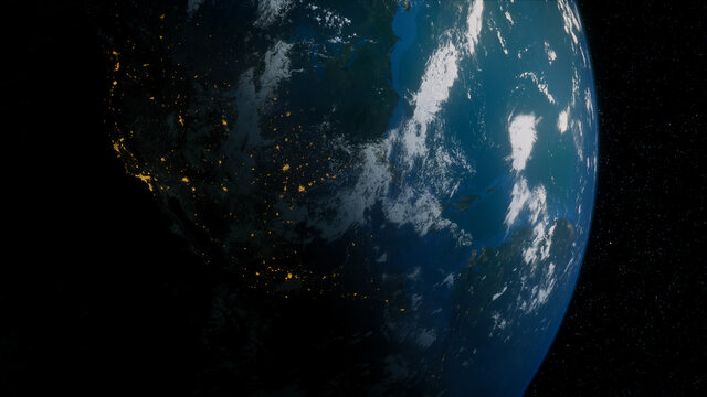 Earth in Space. Photorealistic 3D Render of the Planet, with views of Mexico and North America. Climate Concept.