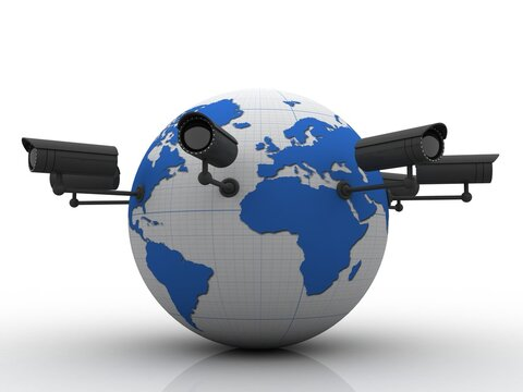 3d rendering Surveillance CCTV Security Camera connected globe