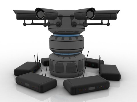 3d rendering Surveillance CCTV Security Camera connected modem with database