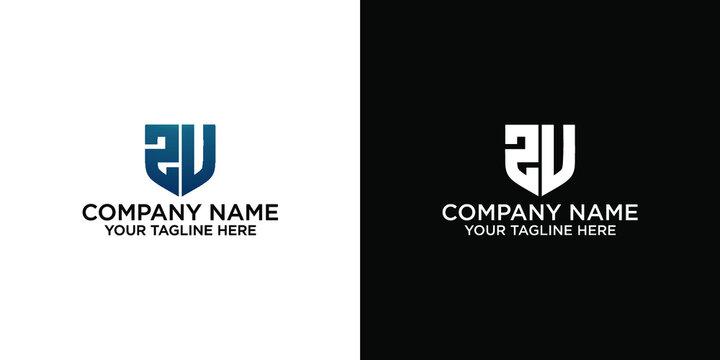 logo initial letter ZU in shield or guard concept