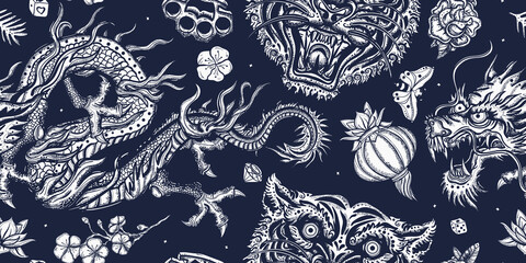 Tigers and dragons. Japanese seamless pattern. Old school tattoo. Japan yakuza art style. Asian wild cats heads. Traditional tattooing background