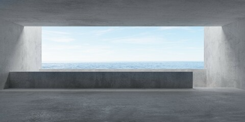 Abstract empty, modern concrete room with balcony and ocean view and rough floor - industrial interior background template