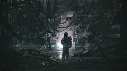 A man walking through a dark, waterlogged path in an abandoned building, digital art style, illustration painting