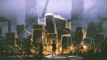 the young girl standing and looking at a pile of engines with string lights, digital art style, illustration painting