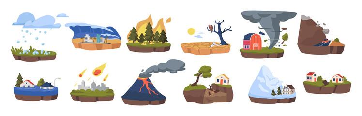 Climate Change Icons Set. Melting Glaciers, Deforestation and Flood, Earthquake, Meteor Rain, Tornado and Hail. Rockfall