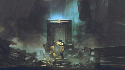young boy lit the candle in front of the secret door, digital art style, illustration painting
