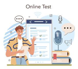 Rhetoric school class online service or platform. Students training public