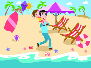 Fototapeta Father and son playing with kite at beach 2d cartoon vector concept for banner, website, illustration, landing page, flyer, etc. obraz