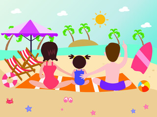 Fototapeta Back of of a happy family of three at beach 2d cute cartoon vector concept for banner, website, illustration, landing page, flyer, etc. obraz