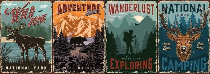 National park vintage colorful posters
