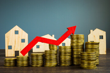 Fototapeta Invest in property concept. Home, money and rising arrow. obraz