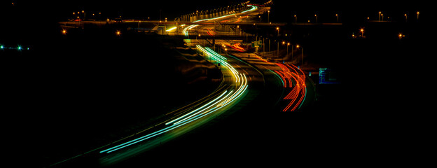 night highway, long exposure of cars lights on the night road