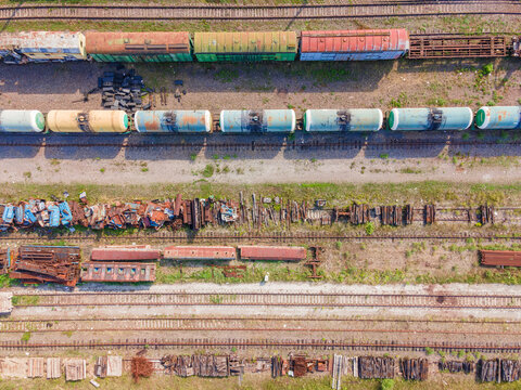Old railway tracks, trains at the old station, top view