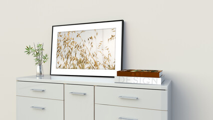 Fototapeta Wnętrze salonu - wizualizacja 3d obraz