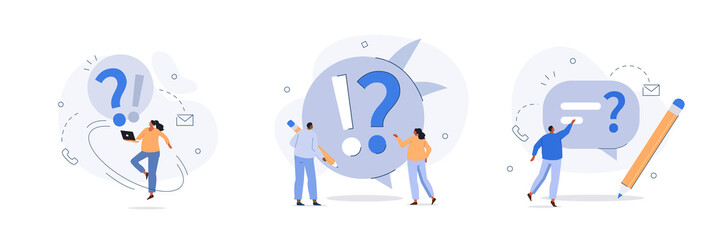 People characters standing near exclamation and question marks. Woman and man ask questions and receive answers. Frequently asked questions concept. Flat cartoon vector illustration and icons set.