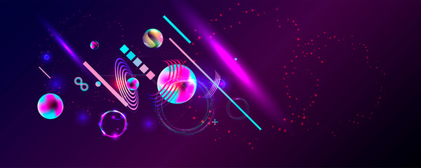 Dark retro futuristic cyberpunk elements abstraction background cosmos synthwave vaporwave retrowave glitch circle with blue and pink glows