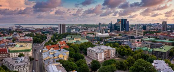 Aerial View of Tallinn business center. Panoramic view of Tallinn.