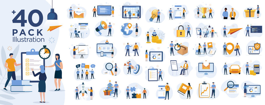 Stock market, finance, capital investment ,marketing concept Illustration set. Scenes with people trading on the stock exchange. Vector illustration