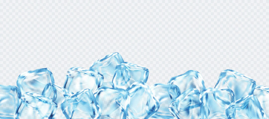 Realistic ice cubes isolated on white transparent background. Vector illustration