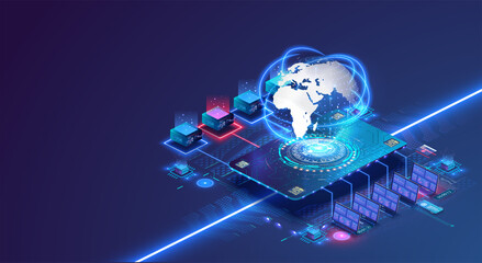 Global network concept with hardware computer server data center and hologram globe. World internet connection or online communication. Data collection and storage, information processing. Vector