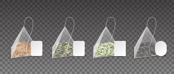 Tea bags. Realistic pyramids. 3D teabags for brewing green or black and herbal beverages. Packs set with cardboard blank labels mockup. Dry leaves in triangles. Vector Chinese drink