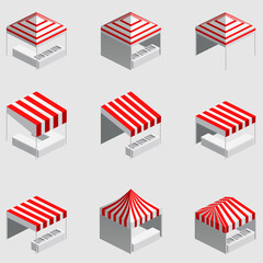 Set Isometric market stall, tent. Street awning canopy kiosk, counter, white red strings for fair, street food, market, grocery goods. Vector isolated