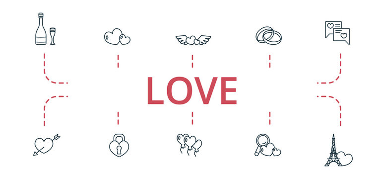 Love icon set. Contains editable icons theme such as balloon, love search, euphile tower and more.