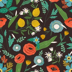 Seamless floral pattern with spring blooming flowers on black background. Repeatable texture with blossomed summer plants. Trendy botanical print. Colored flat vector illustration for decoration