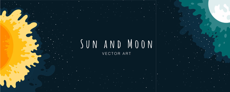 Sun. Moon. Sky. Nature. Modern flat vector poster illustration of natural background. Moonlight Festival feeling. Holiday Feeling. Drawings from the hand of the sun and moon.