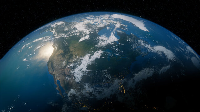 Earth in Space. Photorealistic 3D Render of the World, with views of USA and North America. Global Concept.