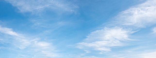 Fototapeta cloudscape with fluffy cirrus, blue sky panorama obraz