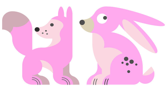 pink dog and rabbit, on white background, cartoon dog and rabbit comic, cute dog and rabbit