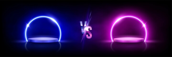 Glowing neon blue versus pink circles on podiums on black background. Abstract round electric light frames. Geometric fashion design vector illustration. Minimal rings with vs symbol